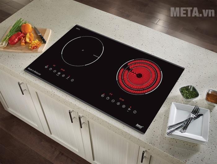 Bếp từ kết hợp hồng ngoại với 2 mặt bếp