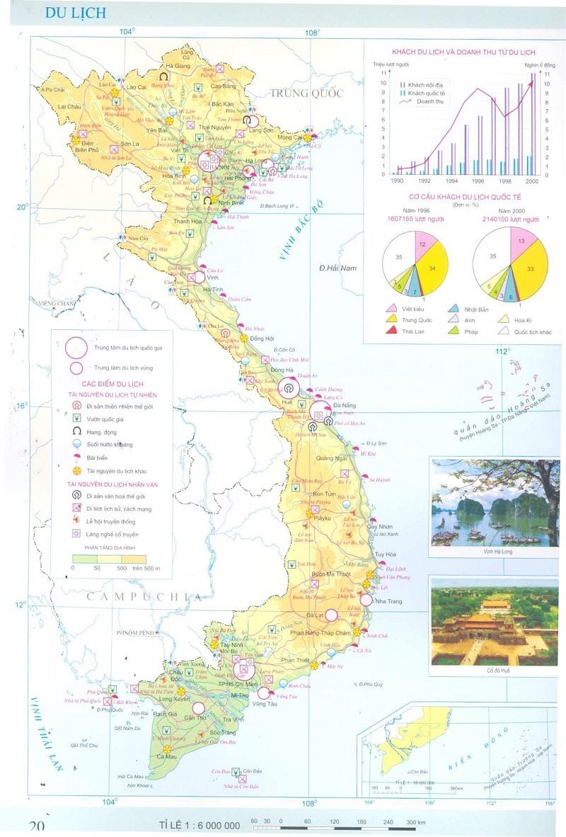 Bản đồ du lịch Việt Nam chi tiết trong Atlat Địa lý