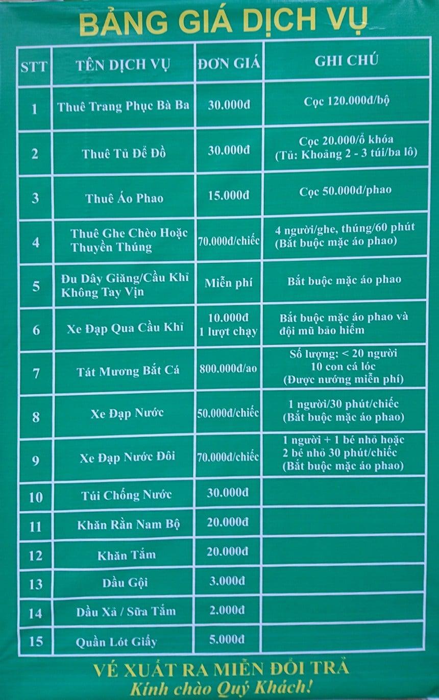Bảng giá vé và dịch vụ khu du lịch Lan Vương