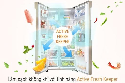 Công nghệ Active Fresh Keeper giữ rau quả ở độ ẩm phù hợp và không bị dập, úng
