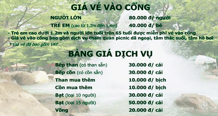 Bảng giá vé tham quan khu du lịch sinh thái Thủy Châu