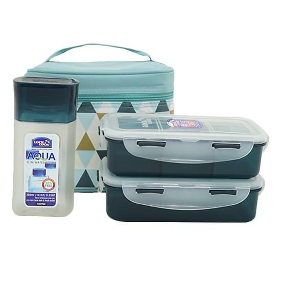 Bộ Túi Hộp cơm Lock and Lock giữ nhiệt bằng Nhựa 2 ngăn Triangle Pattern Bag HPL758S3AB
