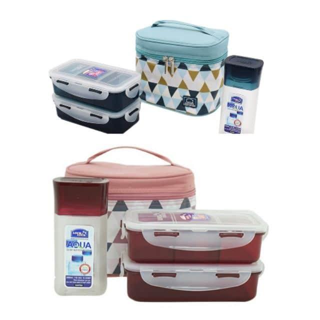 Bộ Túi Hộp cơm Lock and Lock giữ nhiệt bằng Nhựa 3 Ngăn Triangle Pattern Bag HPL758S3AR