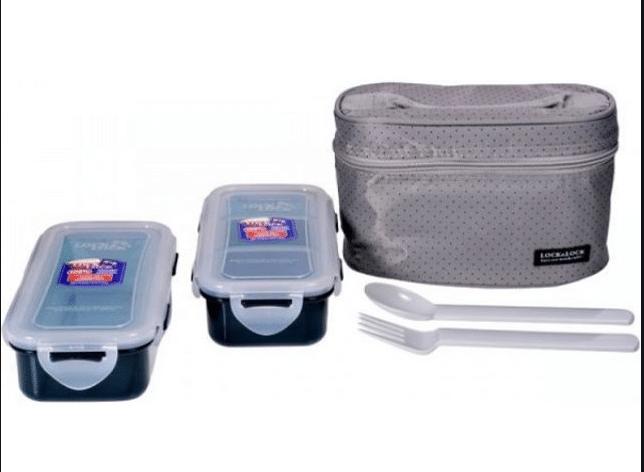 Bộ Túi Hộp cơm Lock and Lock Nhựa giữ nhiệt HPL752DG bằng Nhựa
