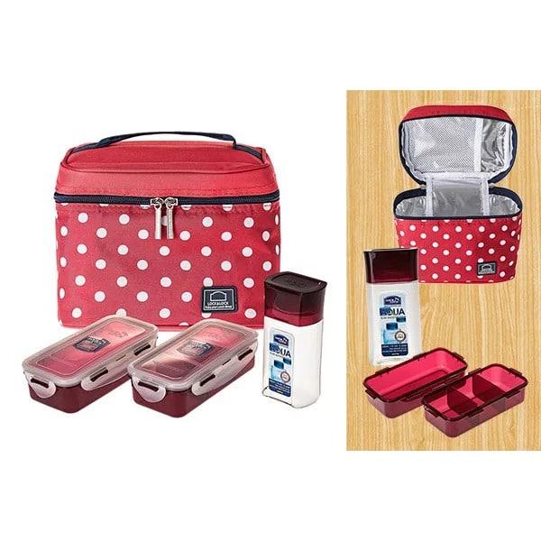 Bộ Túi Hộp cơm Lock and Lock bằng Nhựa Dotted Pattern Bag HPL758S3DR