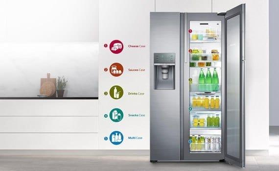Hệ thống khay, kệ, tầng tủ lạnh samsung khá thông minh, linh hoạt